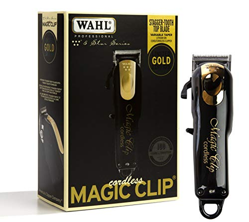 Wahl Professional 5-Star Limited Edition Black & Gold Cordless Magic Clip #8148-100 – Great for Barbers and Stylists – Precision Cordless Fade Clipper Loaded with - Clip Blade 5