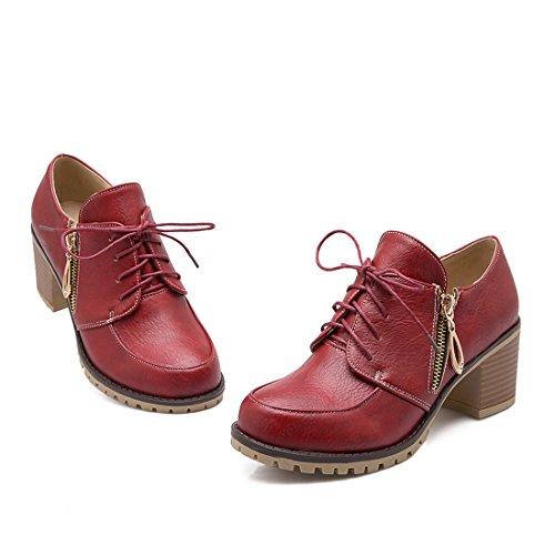 MFairy Womans Fashion Casual Lace up Ankle Boots Med-heel Zipper Vintage Boots Red OLUZS