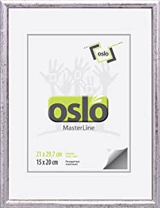 OSLO MasterLine Marco de fotos, H/CH 21x30 (21x29,7) silber, silber marmoriert, 21x30 (21x29,7) DIN A4