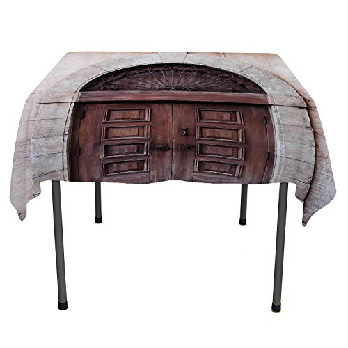 Rustic tablecloths Party Decorations Arched Wooden Venetian Door with Eastern Royal Ottoman Elements European Culture Brown Cream Table Cloth Picnic Outdoor Spring/Summer/Party/Picnic 60 by 90 ()