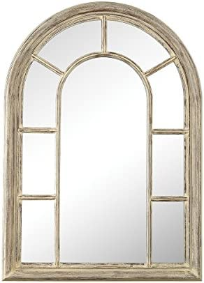 Elk Home Windward Wall Mirror, Cream Washed Wood Tone