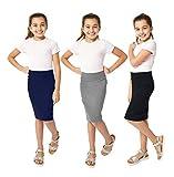 KIDPIK Girls Pencil Skirts (3 Pack) - Multi-Color - (Medium (10), Grey/Navy/Black)