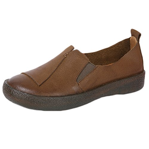 Mordenmiss Womens Cowhide Loafers Slip-On Flat Shoes Khaki vzPf9X