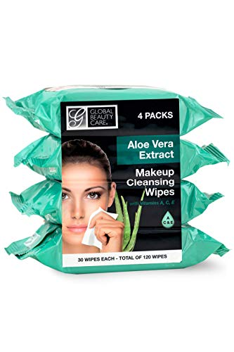 Global Beauty Care Cleansing Makeup Removal Wipes Bulk – Great for travel toiletries – 120 Count (4-Pack) (Aloe Vera)
