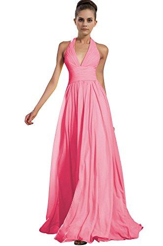 Talinadress Des Femmes De Longue Licol En Mousseline De Soie Robe De Bal Robe De Demoiselle D'honneur Cou V E276lf Rose