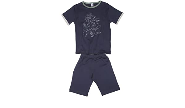 Petit Bateau - Pijama con cuello barco para niño, talla 2 Ans - talla francesa, color Azul (Littoral): Amazon.es: Ropa y accesorios