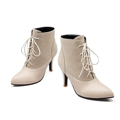 BalaMasa Womens Color Matching Thick Bottom Heel Bandage Frosted Boots Beige P352D0