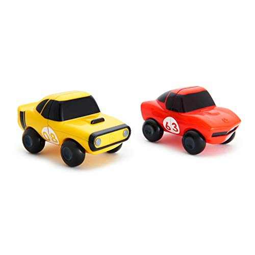 Cars 2 Piece Bath - Munchkin Magnet Motors Mix and Match Car 2 Piece Bath Toy, Red/Yellow