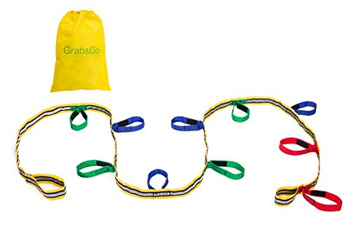 Kids Walking Rope, Grab & Go (10 child). Teacher Designed, Premium Quality. Extra Safety Feature on Handles. Hi Viz Detail for Increased Visibility by Walkodile
