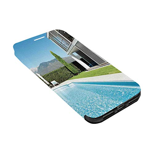 - House Decor Leather Phone Case,Modern Villa with Pool View from The Garden Real Estate Contemporary Property Compatible with iPhone X, iPhone X