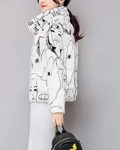 Collo Donna Corto Graffiti Outerwear Coreana Cerniera Trapuntata Leggermente Giaccone Imbottito Cappotto Invernali Giacca Autunno Giovane Anaisy Caldo Casual Fashion Comodo Bianca Giacche Con ax1nSdIa