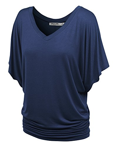 Lock and Love WT1038 Womens V Neck Short Sleeve Dolman Top L Navy
