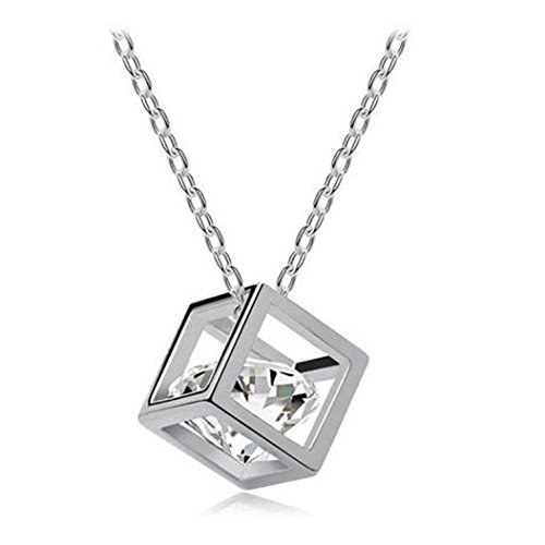 bestpriceam Women Chain Crystal Rhinestone Square Pendant Alloy Necklace Jewelry (Silver)