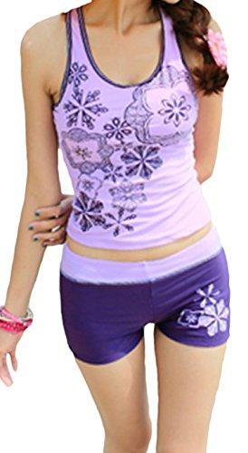 ilishop Juniors Two Piece Tankini Bathing Suits Boy Leg Swimwear Purple 3XL-US6-8 (Best Inexpensive Bathing Suits)