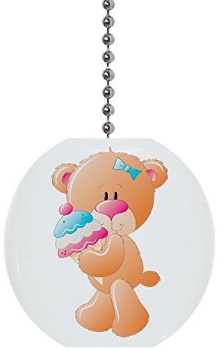Teddy Bear with Ice Cream Solid Ceramic Fan Pull ()