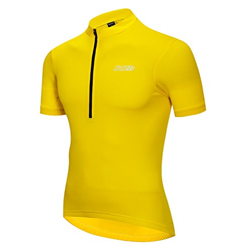 (Bpbtti Men's SS & LS Bike Biking Shirt Solid Color Cycling Jersey-Light Weight and Breathable (Sun Yellow, Large))