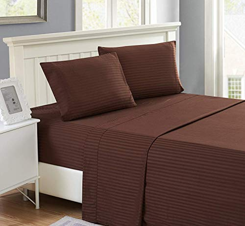 Myrtle Collection Hotel Luxury Heavy { 1500-TC } 1-Piece Flat (Top) Sheet Genuine Soft Egyptian Cotton Flat Sheet Available in Many Attractive Color's, King Size, Chocolate Color { Pattern : Stripe } - Flat Sheet Stripe Chocolate