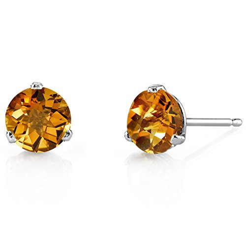 14 Kt White Gold Martini Style Round Cut 1.50 Carats Citrine Stud Earrings