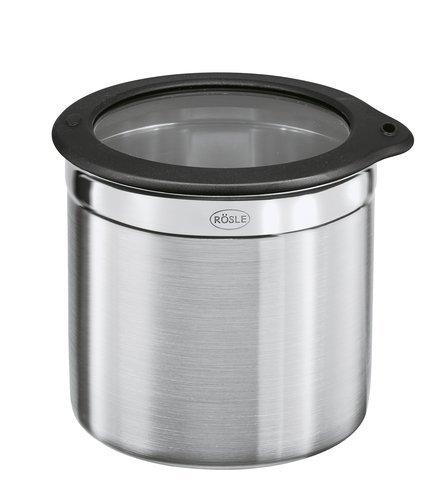 Rösle Jar with Silicone Glass Lid, Storage Box, 18/10 Stainless Steel, 6x12 cm, -