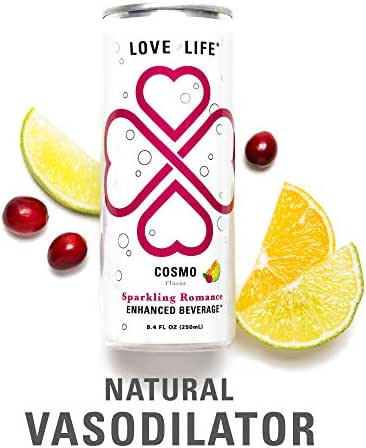 Love Life Sparkling Romance Amino Acid Beverage – Nitric Oxide Promotes Flushed Feeling – 6 ct