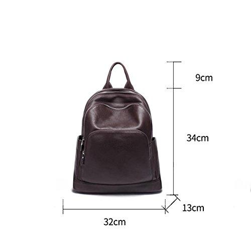 Black Double Des Sac Nouveau Rouge Féminin À En La Peau Style Simple Cuir Brun Sac Dos 4xH5O