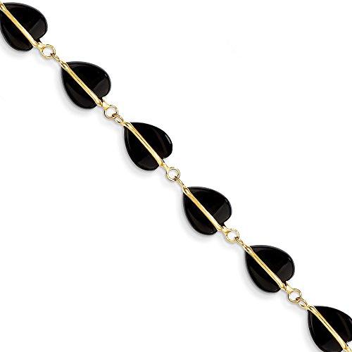 (14K Yellow Gold Black Onyx Bracelet 9 mm 7 in Gemstones Bracelets Jewelry)
