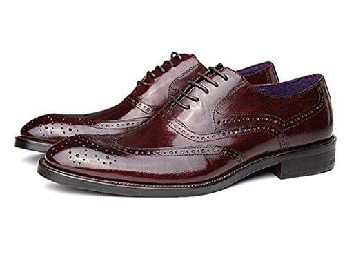 WZG Calzado hombre, zapatos de cuero británica Columbus Locke talladas a mano los zapatos de los hombres señalaron los zapatos de encaje zapatos de la boda 6 wine red