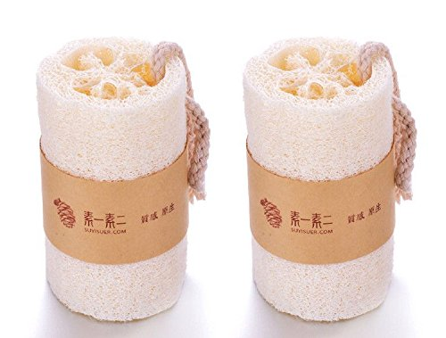 SUYISUER Natural Loofah Exfoliating Bath Sponge Scrubber (with Hang Rope Easier to Hang on),Pack of 2