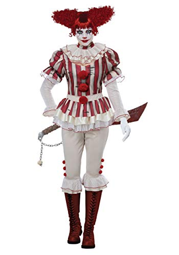 California Costumes Women's Sadistic Clown-Adult Costume, Red/Cream,