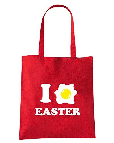T-Shirtshock - Bolsa para la compra T0483 i love easter Rojo