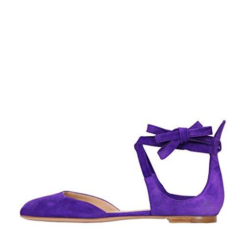 Ydn Pompes Womens Ballerines Bout Rond Casual En Daim À Lacets Talons Bas Chaussures De Marche Violet