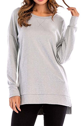 8sanlione Womens Long Sleeve Casual Crew Neck Pullover Loose Sweatshirt Tunic Tops T-Shirt(XX-Large/US 20,LightGray) (Lucky Long Sleeve Pullover)