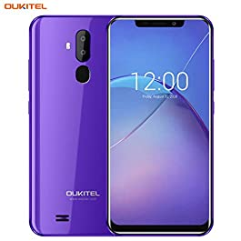 "OUKITEL Unlocked Smartphones, Cell Phones Unlocked Android Phones with Dual Sim 6.18"" Notch Display, Face ID + Fingerprint, 16GB + 2GB, Dual Camera, 3300mAh Battery (International Version) (Purple)"