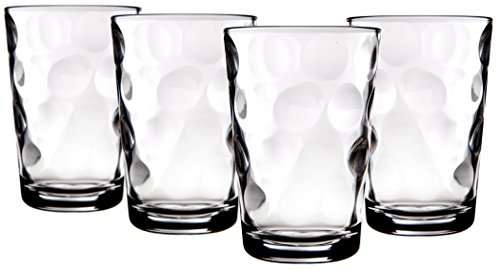 Palais Glassware Cercle Collection; Clear Glass Set with Circle Design (Set of 4-7 Oz Juice Glasses, Clear)