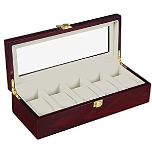 SONGMICS Watch Box, Wooden Watch Organizer, 5 Slots Display Case, Cherry UJOW05C