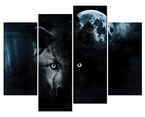 SmartWallArt® - Animal Paintings Wall Art Eerie Night Scene with a Black Wolf and Full Moon Moody Image Perfect for Halloween 4 Panel Picture Print on Canvas for Modern Home -