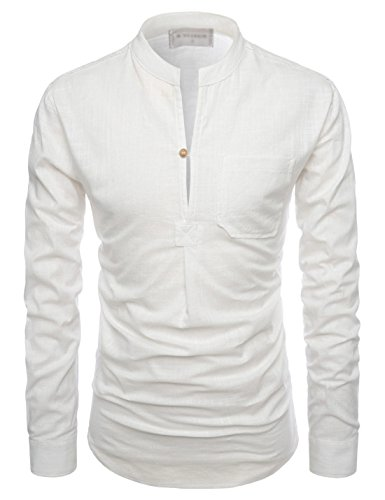 TheLees (NKN351) Mandarin Henley Slit Neck Cool Texture Linen Casual Shirts IVORY US L(Tag size -