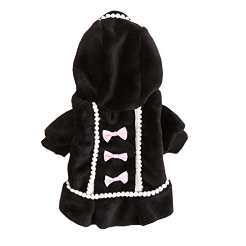 Puppy Clothes,Neartime Dog Coat Jacket Pet Outfit Winter Apparel Yorkie Garment (L, Black) (Pumpkin Outfit For Dogs)