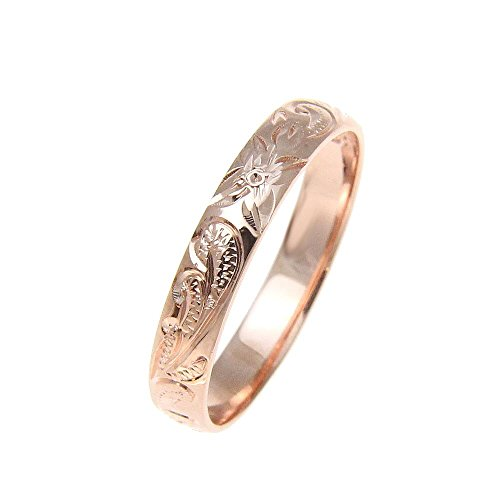 Sterling silver 925 pink rose gold plated 4mm Hawaiian scroll hand engraved ring band size 5.5 ()