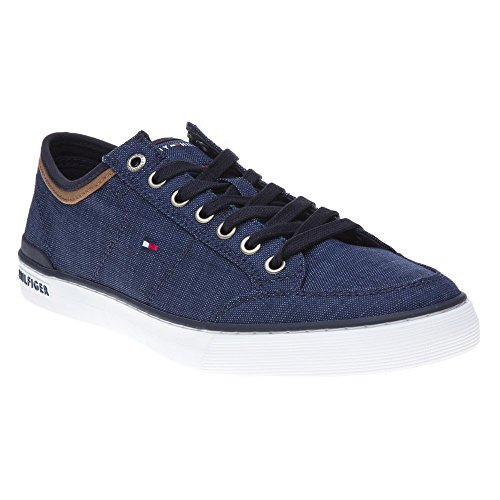 Tommy Hilfiger Mens Core - Tommy Hilfiger Core Material Mix Sneaker Mens Trainers Midnight Navy - 44 EU