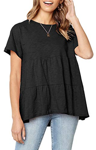 Black Pleated Loose Peasant Top for Women Short Sleeve Casual Comfy Shirt Blouse