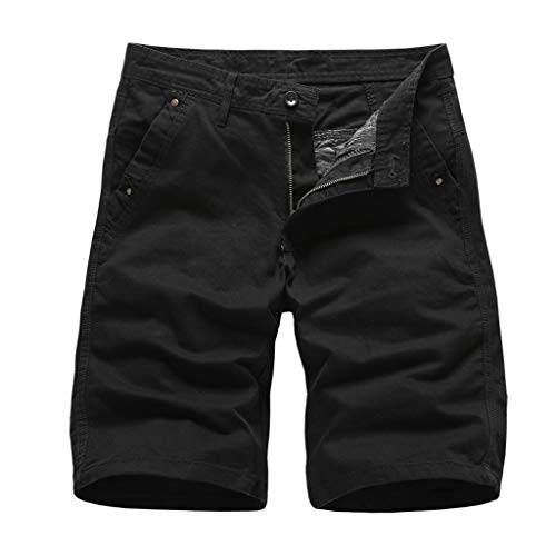 khdug✿Shorts for Men, Hawaiian Summer Pocket Short Pants Casual Solid Color Straight Slim Fit Trousers Jeans Black