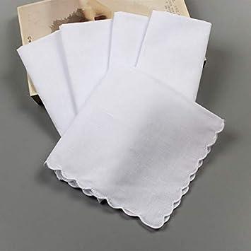 XIJUGE Toallas, pañuelos de algodón Blanco 6PCS el pañuelo de ...