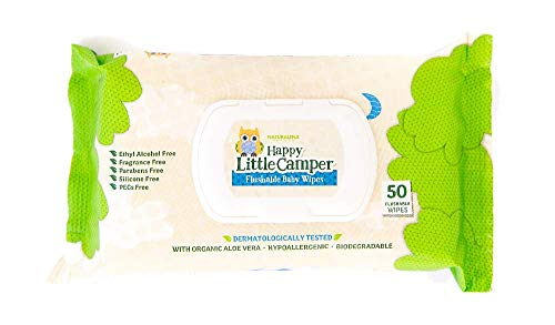Happy Little Camper x Hilary Duff Gentle Hypoallergenic and Dermatalogically Tested Natural Flushable Septic Safe wipes with Organic Aloe Vera and Vitamin E, 50 Count