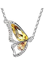 Fashion Necklace White Gold Plated Swarovski Elements Crystal Butterfly Pendent