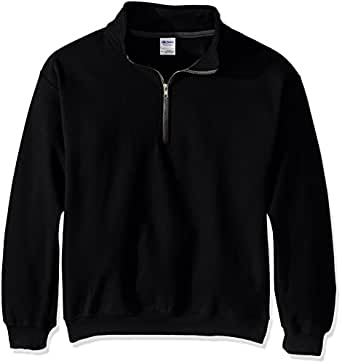 Gildan Men's Fleece Quarter-Zip Cadet Collar Sweatshirt, Black, Small