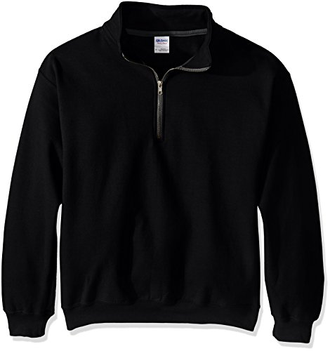Gildan Men's Fleece Quarter-Zip Cadet Collar Sweatshirt, Black, Medium