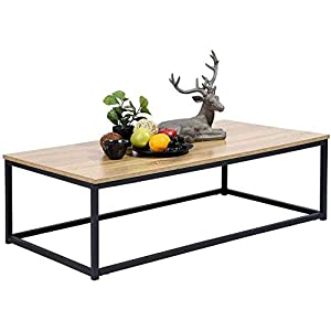MEUBLE COSY Tables basses de salon table basse design moderne, Chêne clair 2 /110 x 60 x 34 cm