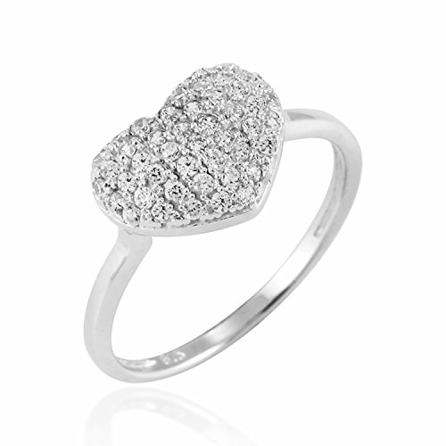 Chuvora 925 Sterling Silver Sparkling Cubic Zirconia CZ Puff Heart Love Promise Ring - Size 7