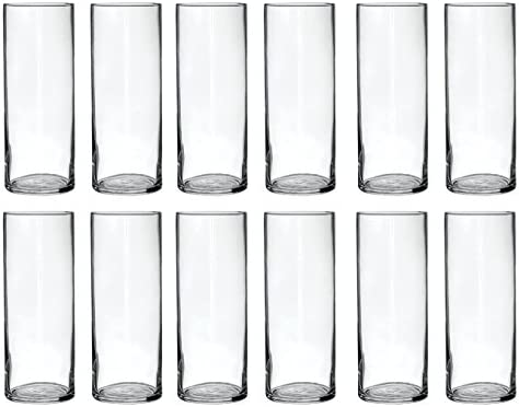 Treasures Untold Glass Cylinder Vases Bulk Set of 12 for Wedding Reception Centerpiece Sets and Formal Dinners 9 Inch